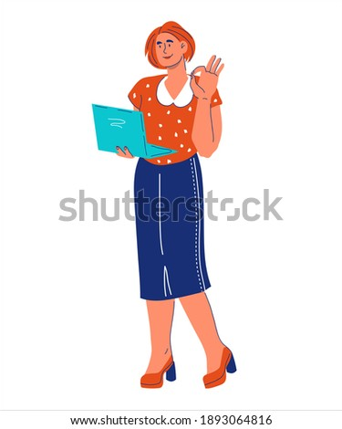 Young businesswoman with a laptop making the OK hand sign Stock photo © photography33