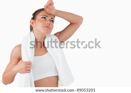 Młoda kobieta pot czoło biały zdrowia Zdjęcia stock © wavebreak_media