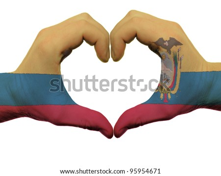Heart and love gesture by hands colored in ecuador flag during b Stock photo © vepar5