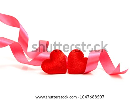 white gift box with red bow two hearts and greeting card isolat stock photo © tetkoren