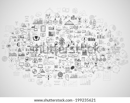 hand doodle Business Graph charts Stock fotó © kiddaikiddee