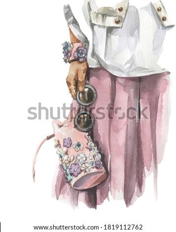 モデル · 袋 · 屋外 · いい · 少女 · ポーズ - ストックフォト © nejron