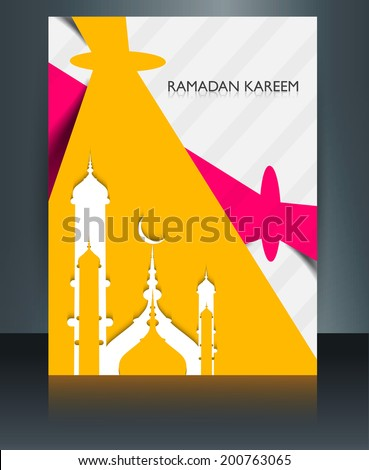 Arab mosque with bright brochure colorful template Eid Mubarak r Stock photo © bharat