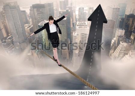 Zakenvrouw balancing handelen witte lopen Stockfoto © wavebreak_media