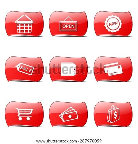 shopping sign red vector buttonicon design set stock photo © rizwanali3d