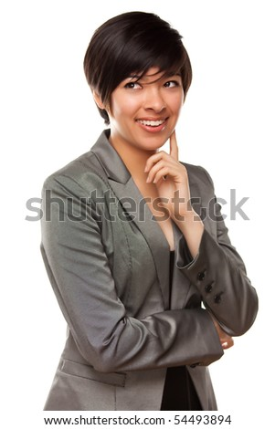 Stock fotó: Csinos · gondolkodik · több · nemzetiségű · fiatal · felnőtt · szemek · felfelé