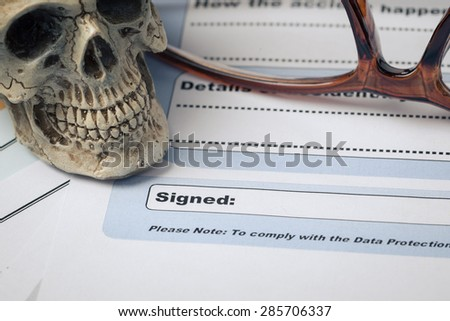 Signature field on document with pen and skull signed here; docu Stock photo © FrameAngel