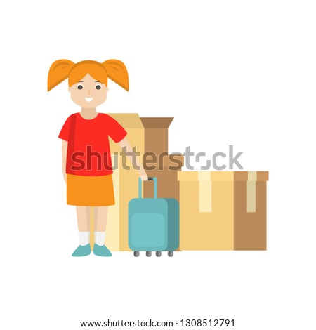 Young woman with a yellow suitcase standing near the trunk of a  Stock photo © vlad_star