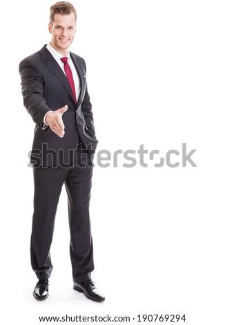 hombre · de · negocios · mano · apretón · de · manos · retrato · positivo · hombre - foto stock © deandrobot