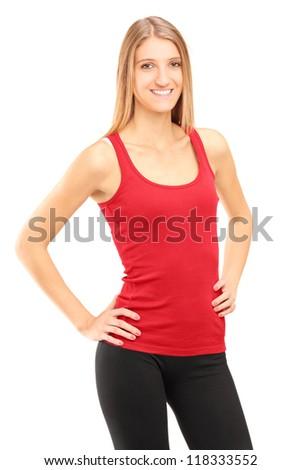 довольно фитнес инструктор позируют белый женщину Сток-фото © Nobilior