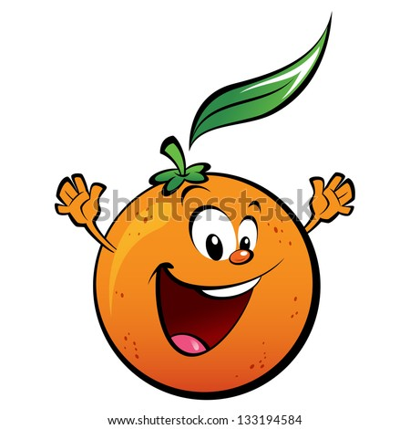 Glücklich orange Früchte Cartoon-Maskottchen Zeichen Gruß Stock foto © hittoon
