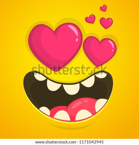 Gülen sevmek karikatür kare kalpler Stok fotoğraf © hittoon