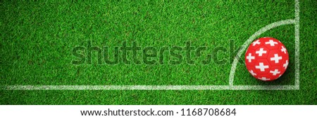 Football in switzerland colours against close-up of grass mat Stock photo © wavebreak_media
