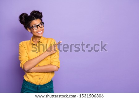 happy amazing young business woman pointing showing thumbs up stock photo © deandrobot