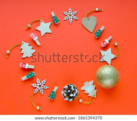 Christmas toy in the form of red winter mittens with snowflake isolated on white background. Vector  Stock photo © Lady-Luck