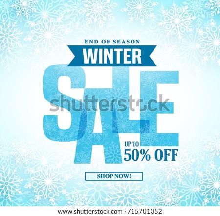 Kış alışveriş satış afiş kar çerçeve Stok fotoğraf © Terriana