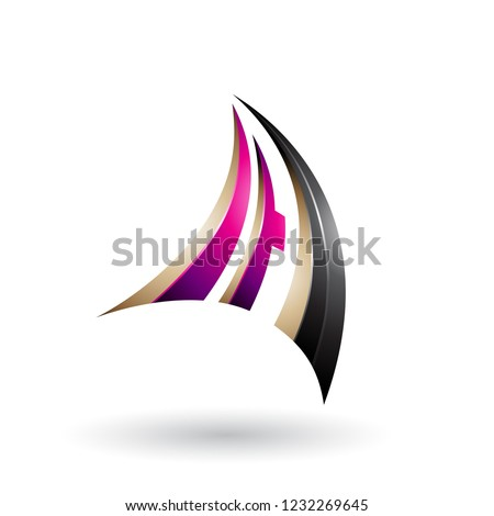 Magenta Black and Beige 3d Dynamic Flying Letter A Vector Illust Stock photo © cidepix