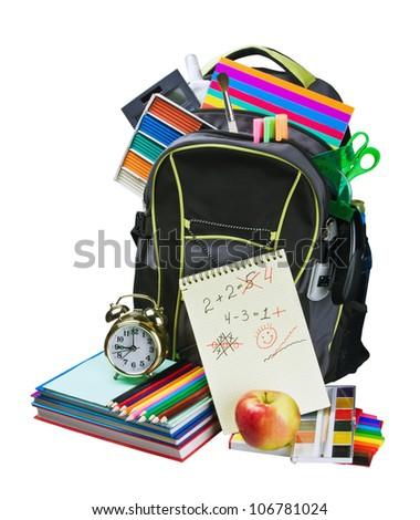 Сток-фото: Снова · в · школу · книгах · красное · яблоко · зеленый · натюрморт