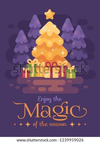 ビッグ · 明るい · クリスマスツリー · プレゼント · 1泊 · 森林 - ストックフォト © IvanDubovik