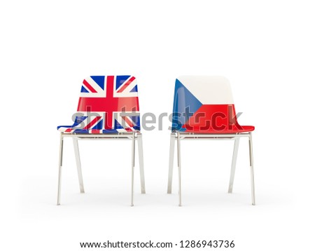 Two chairs with flags of UK and czech republic isolated on white Stock photo © MikhailMishchenko