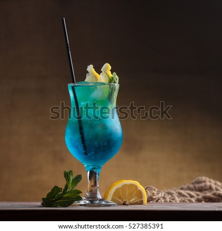 Blue lagoon drinks with slice of lemon with straw isolated on white Stock photo © dla4
