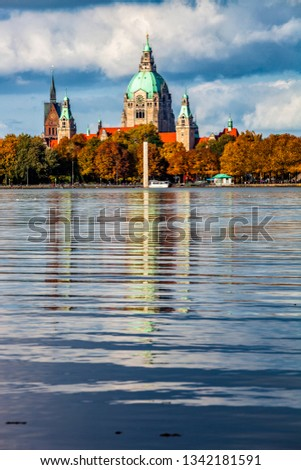 The Hannover city new town hall over Maschsee lake Stock photo © 5xinc