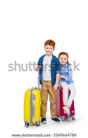 Cute sister Little Girl with redhead in studio white background Сток-фото © Lopolo