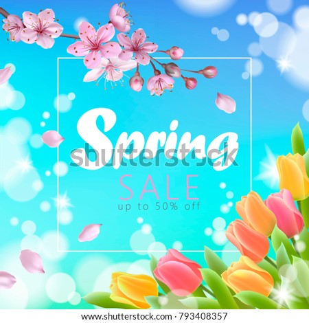 Spring tulip flowers on sky background Vector realistic banner templates Stock photo © frimufilms