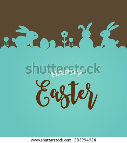 easter design with cute banny and text hand drawn illustration stock photo © marish