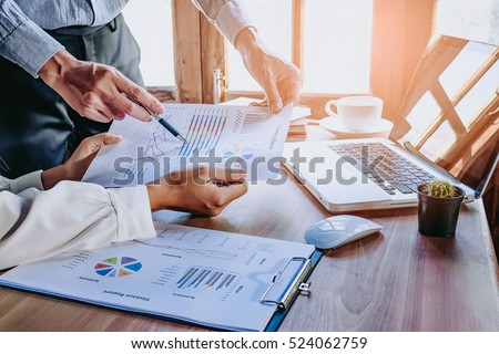 Business team working with computer, document graph in team Meet Stock photo © Freedomz