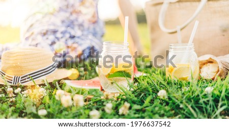 Couple in love drinking summer refreshing lemonade with rasberry Stock photo © dashapetrenko