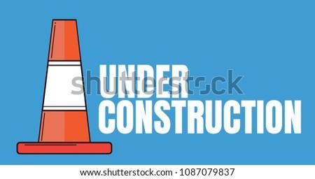 Inşaat metin trafik koni mavi dijital bileşik Stok fotoğraf © wavebreak_media