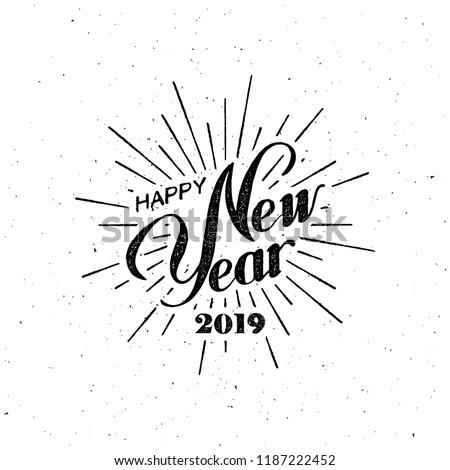 Alegre natal feliz ano novo letra isolado preto Foto stock © MarySan