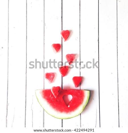 Eau melon coupé forme de coeur amour saint valentin Photo stock © galitskaya