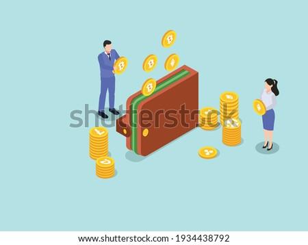 Isometrische bitcoin teken illustratie vector Geel Stockfoto © TRIKONA