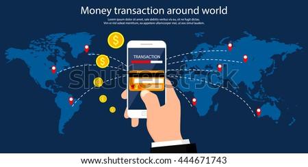Geld Transaktion herum Welt Business mobile Stock foto © benzoix