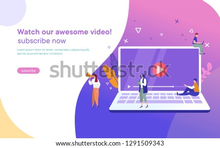 people streaming online video with their laptop, smartphone vector illustration concept, online tuto Stock photo © benzoix