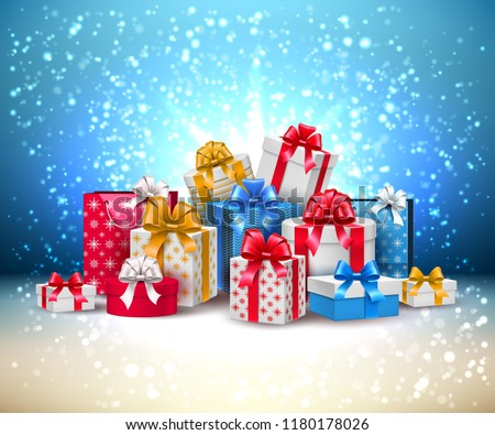 Christmas decoration and gift box with shiny snow on silk backgr Stock photo © Anneleven
