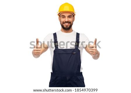 Boldog fiatal szakállas építész fehér munkavédelmi sisak Stock fotó © pressmaster