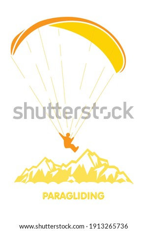 Paragliding logo with skydiver flying over mountains, parachutis Stock photo © gomixer