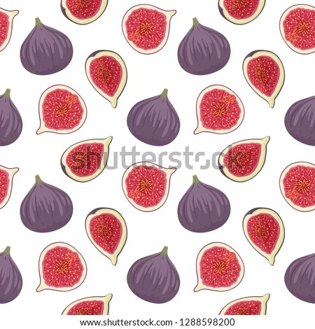 pattern with fresh ripe delicious figs whole and half fig fruit. Stock photo © Margolana