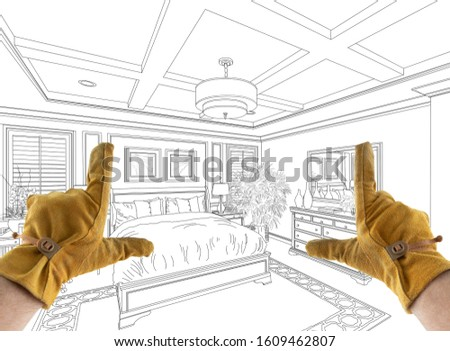 Male Contractor Hands Framing Over Custom Master Bedroom Design  Stock photo © feverpitch