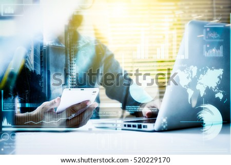 businesswoman using smartphone at night office Stock photo © dolgachov