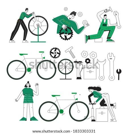 Banner of Bicycle repair. Tools, instrument for repairing bike. Stock photo © Illia