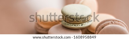 French macaroons on cream beige background, parisian chic cafe d Stock photo © Anneleven