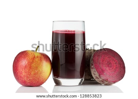 Isolated shot of fresh red beetroot juice and sliced beet. Tasty homemade detox drink with ingredien Stock photo © vkstudio