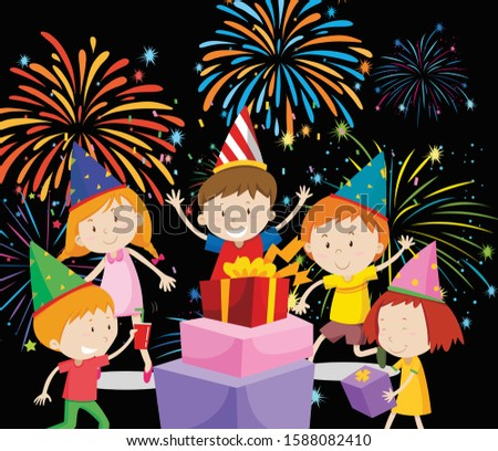 feliz · crianças · festa · presentes · fogos · de · artifício · ilustração - foto stock © bluering