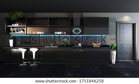 зеленый черный кухне дизайна темно интерьер Сток-фото © sedatseven