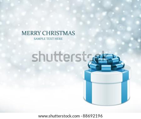 Kış tatil hediye kutusu mavi ipek yay Stok fotoğraf © Anneleven