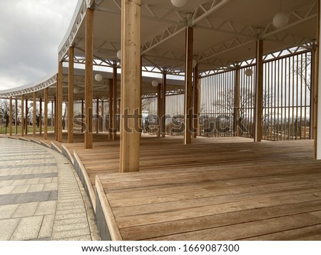 Public area for recreation made of wood built in a public park Stock photo © ElenaBatkova